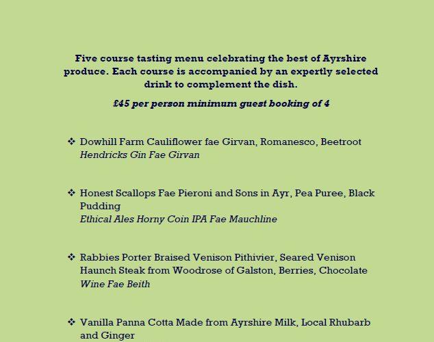 A Taste Of Ayrshire Menu
